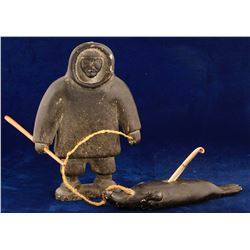 Soapstone Eskimo and Seal Pair (with Ivory Harpoon)