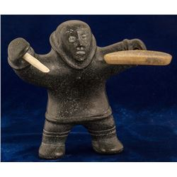 Soapstone Statue of an Eskimo holding an Ivory Drum Stick and Drum