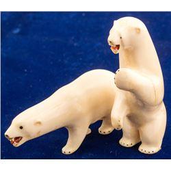 Two Polar Bear Ivory Fetishes