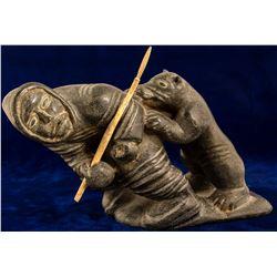 Soapstone Figure of Native Alaskan and Bear