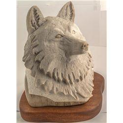 Wolf Alabaster Sculpture, Victor M. Vigil