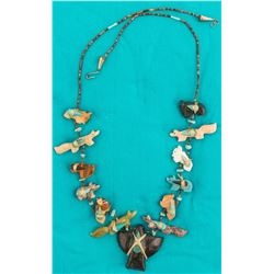 Vintage Fetish Necklace, Onyx Bird Pendant