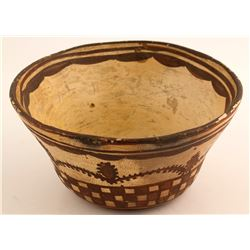 Historic Bowl, Cactus, Checkerboard, c.1880