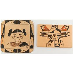 Two Painted Hopi Tiles