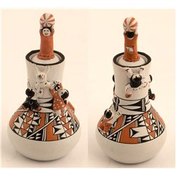 Lidded Pot w/Figures, Theresa Wildflower