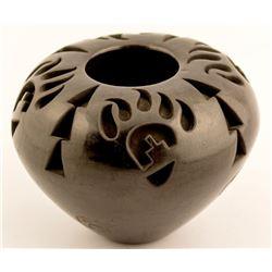 Blackware Pot--Bear Paw, Ethel Yazza
