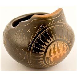 Etched Blackware Jar, Kevin Naranjo