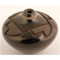 Etched Blackware Seed Pot--Madeline Naranjo, Adrian Garcia