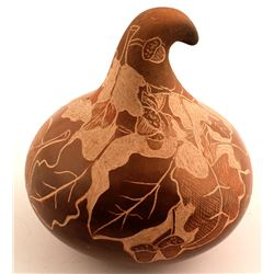 Leaf and Acorn Scraffito Pot, Bernice Naranjo