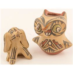 Owl and Dog Figurines, Margaret & Luther Gutierrez