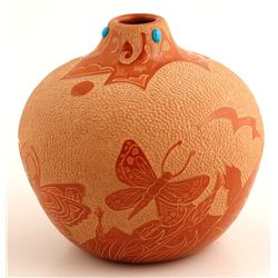 Redware Seed Pot, Marlin & Phyllis (Tafoya) Hemlock