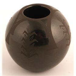 Sgraffito Blackware Pot, Linda Askan