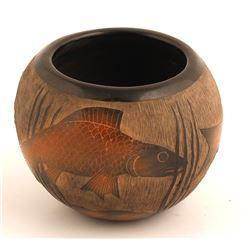 Sgraffito Fish Design Bowl, Corn Moquino