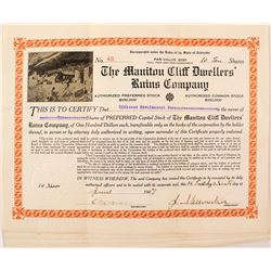 Lot of Manitou Cliff Dwellers Ruins Company Stock Certificates