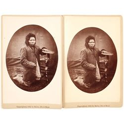 Two Cabinet Cards of a Native American, Fort Randall, Dakota Territory