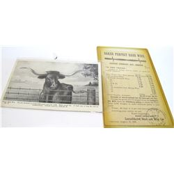 1895 Baker Perfect Barb Wire Postal Card