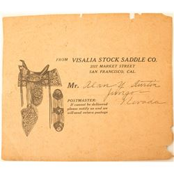 Visalia Stock Saddle Company Pictorial Postal Piece to Jungo, Nevada