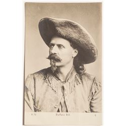 Buffalo Bill Postcard: European Black and White Portrait RPC