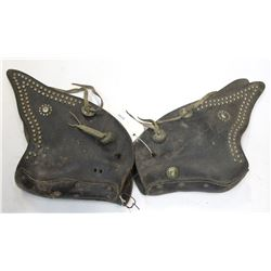 Pair of Leather Tapadero's with Nickel Spots and Conchos