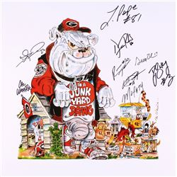 "Georgia ""I'm a Junkyard Dawg"" 18x18 Lithograph Signed by (9) with Leonard Pope, Greg Blue, D.J. Shoc"