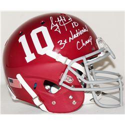 "AJ McCarron Signed Alabama Full-Size Authentic Pro-Line Helmet Inscribed ""3x National Champ"" (Radtke"