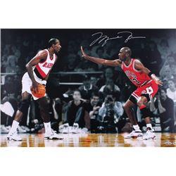 "Michael Jordan Signed LE Bulls ""Faceoff Vs. Drexler"" 16x24 Photo (UDA COA)"