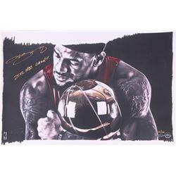 "LeBron James Signed LE Heat ""Magic Moment"" 16x24 Lithograph Inscribed ""2012 NBA Champs"" (UDA COA)"