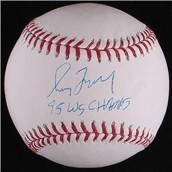"""Greg Maddux Signed OML Baseball Inscribed """"95 WS Champs"""" (Radtke COA)"""