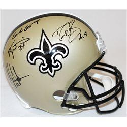 Drew Brees, Earl Campbell, Mark Ingram  Ricky Williams Signed Saints Full-Size Helmet (JSA COA  Bree