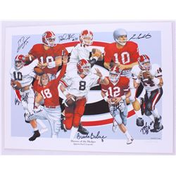 """Heroes of the Hedges: Quarterback Legends"" Georgia 18x24 LE Lithograph Signed by (8) with David Gre"