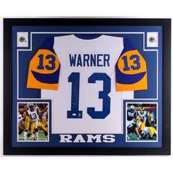 "Kurt Warner Signed Rams 35"" x 43"" Custom Framed Jersey (JSA COA  Warner Hologram)"