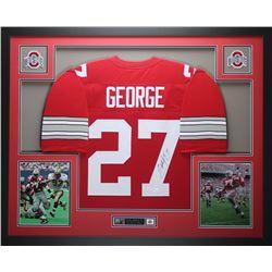 Eddie George Signed Ohio State Buckeyes 35x43 Custom Framed Jersey (JSA COA)