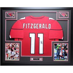 "Larry Fitzgerald Signed Cardinals 35"" x 43"" Custom Framed Jersey (JSA COA)"