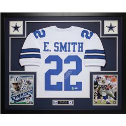 """Emmitt Smith Signed Cowboys 35"""" x 43"""" Custom Framed Jersey (PSA COA  Smith Hologram)"""