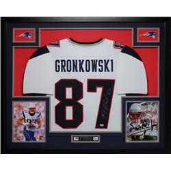 """Rob Gronkowski Signed Patriots 35"""" x 43"""" Custom Framed Jersey (PSA COA)"""