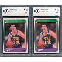 Lot of (2) 1988-89 Fleer #115 John Stockton RC (BCCG 10)