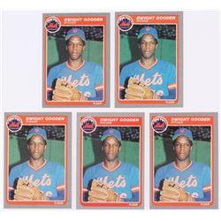 Lot of (5) 1985 Fleer #82 Dwight Gooden RC