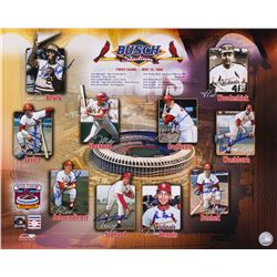 Busch Stadium 16x20 Photo Signed by (8) with Red Schoendienst, Lou Brock, Ray Washburn (JSA ALOA)