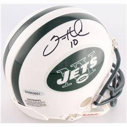Santonio Holmes Signed Jets Mini Helmet (UDA COA)