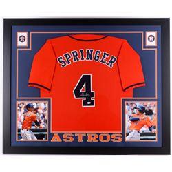 """George Springer Signed Astros 35"""" x 43"""" Custom Framed Jersey (JSA COA)"""