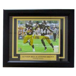 Antonio Brown  Le'Veon Bell Signed Steelers 11x14 Custom Framed Photo Display (JSA COA)