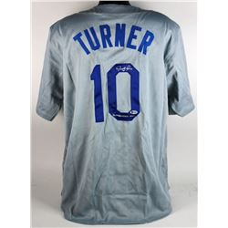 "Justin Turner Signed Dodgers Jersey Inscribed ""Gingerbread Man"" (Beckett COA)"