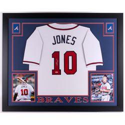 Chipper Jones Signed Braves 35x43 Custom Framed Jersey (PSA COA)