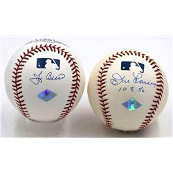 """Yogi Berra  Don Larsen Signed OML Baseballs Inscribed """"10-8-56"""" (JSA COA)"""