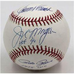 "Joe Morgan, Johnny Bench  Pete Rose Signed OML Baseball Inscribed ""HOF 90""  ""1975 WC"" (Steiner COA"