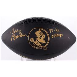 """Bobby Bowden Signed Seminoles Logo Football Inscribed """"'93-'99 Champs"""" (PSA COA)"""