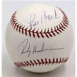 Rickey Henderson  Lou Brock Signed OML Baseball (Steiner COA)