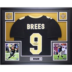 """Drew Brees Signed Saints 35"""" x 43"""" Custom Framed Jersey (PSA COA  Brees Hologram)"""