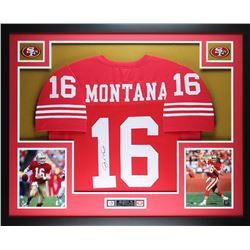 """Joe Montana Signed 49ers 35"""" x 43"""" Custom Framed Jersey (JSA COA)"""