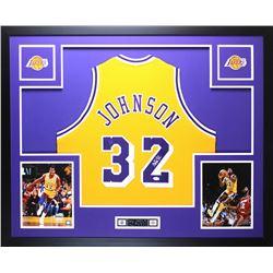 Magic Johnson Signed Lakers 35x43 Custom Framed Jersey (JSA COA)